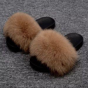 Shoes - Genuine Tan Fur Strap Slip-ons Slides Sz 40-41